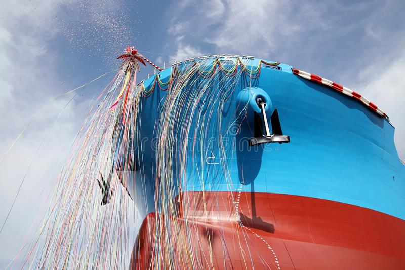 Newly built vessel launching of the shipyard. Newly built vessel during launching of the shipyard in Japan royalty free stock image