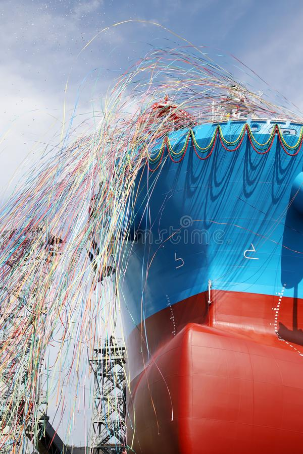 Newly built vessel launching of the shipyard. Newly built vessel during launching of the shipyard in Japan royalty free stock photo