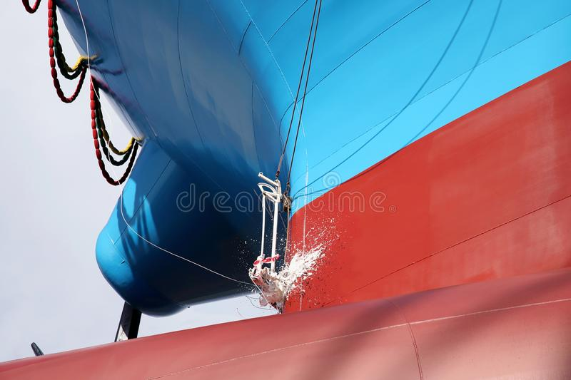 Newly built vessel launching of the shipyard. Newly built vessel during launching of the shipyard in Japan royalty free stock photography