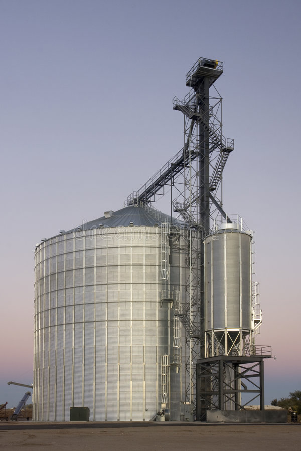 Newly constructed grain silo and elevator stock image