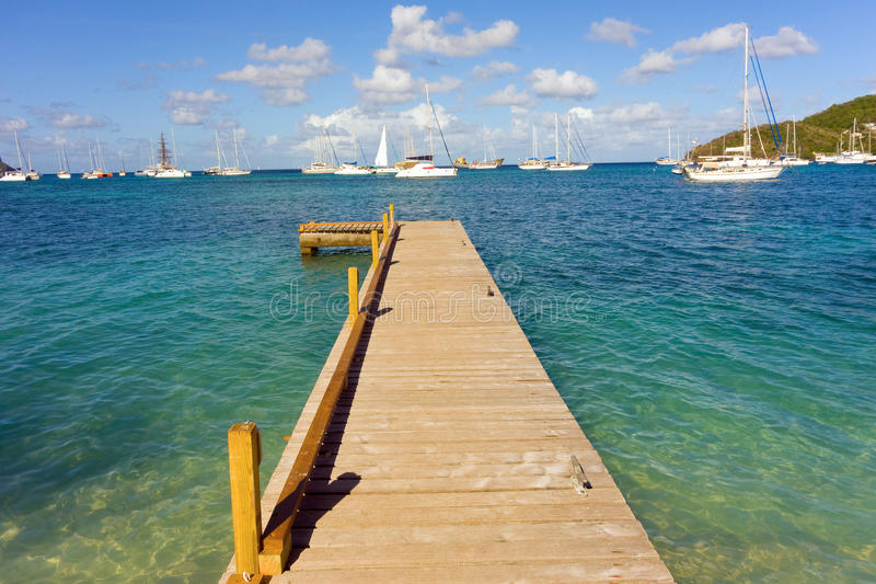 A newly constructed jetty in the windward islands royalty free stock photography