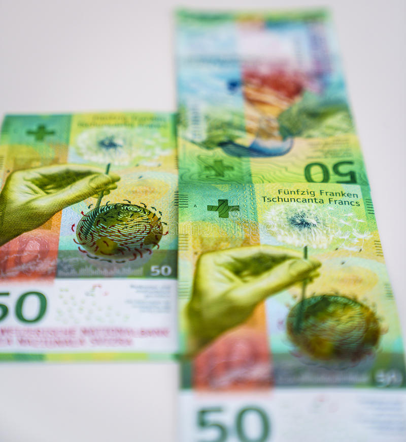 Newly Fifty Swiss Franc bills stock photography