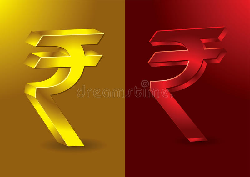Newly formed Indian Rupees symbol. In 3D