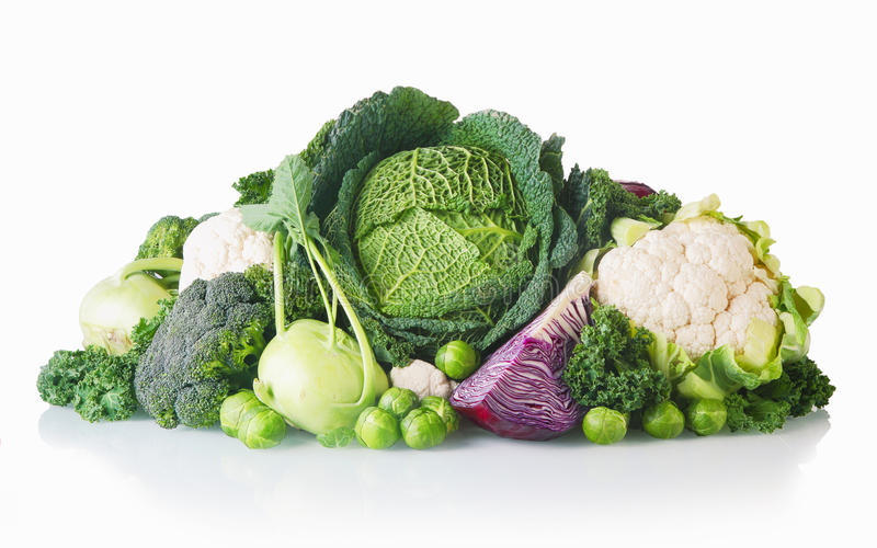 Newly Harvest Healthy Veggies on White Background stock images
