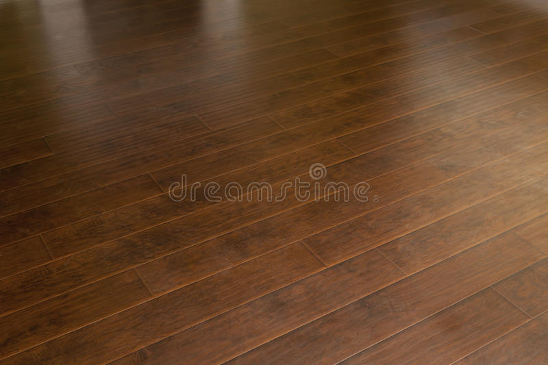 Newly Installed Brown Laminate Flooring in Home stock image