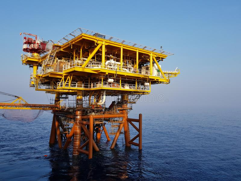 Ready for the black gold. Newly installed offshore or oil and gas platform ready for oil production work royalty free stock photography