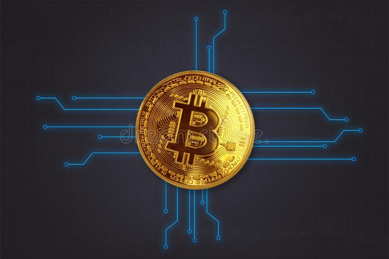 Krypto currency Bitcoin Background as 3D wallpaper, presentation screen, etc. stock photography