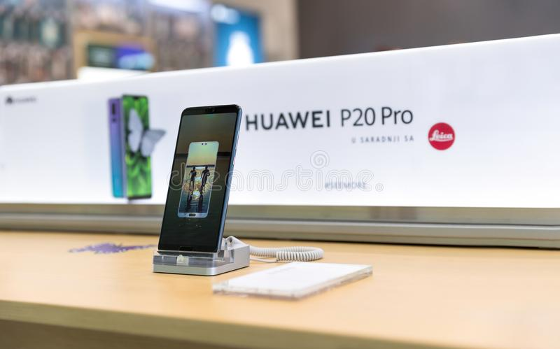 Newly launched Huawei P20 Pro Smartphones on retail display in e. Belgrade, Serbia - March 29, 2018: Newly launched Huawei P20 Pro Smartphones is displayed on royalty free stock images