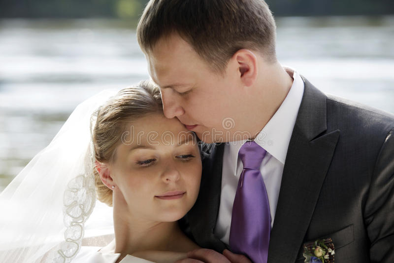 Newly-married couple stock photo