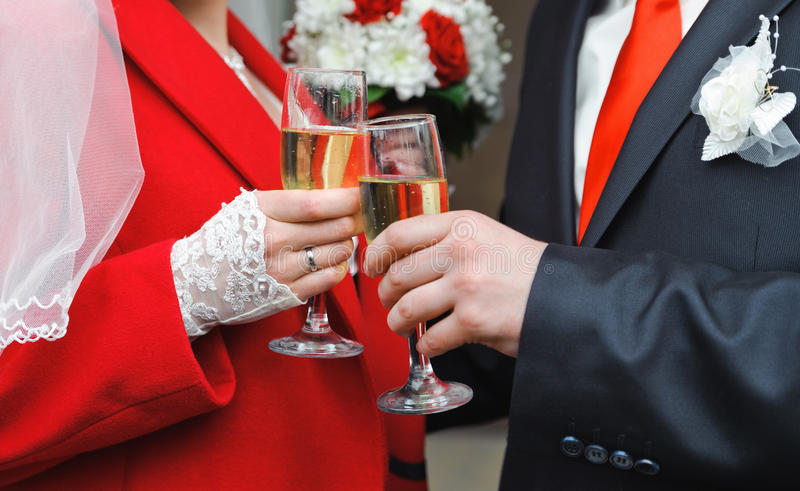 Newly Married Couple Holding Wine Glass In A Hands Stock Photography