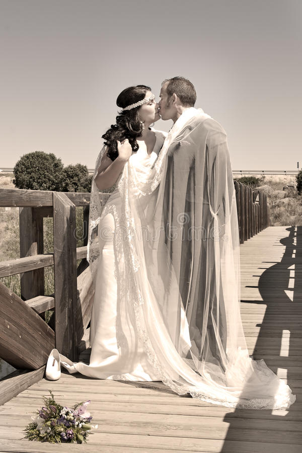 Newly married couple kissing on stock images