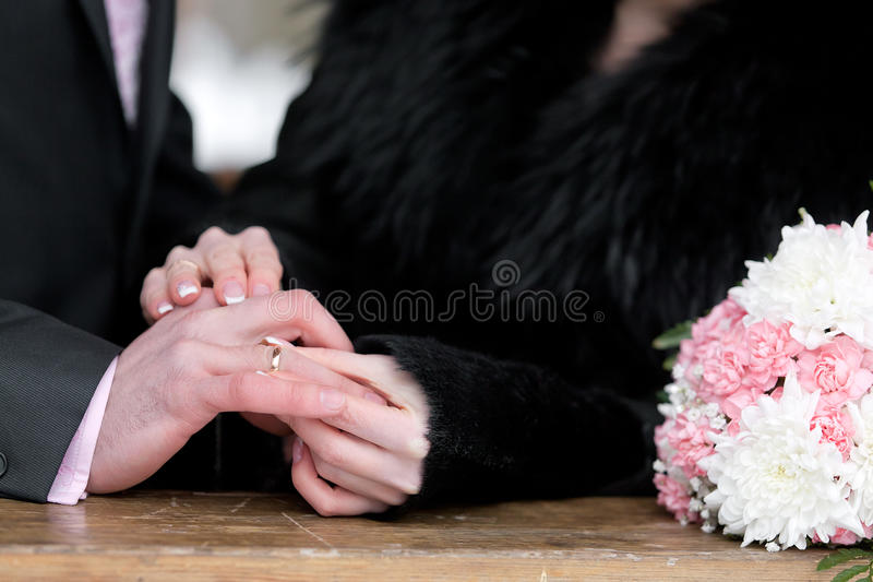 Download Newly-married Couple On Wedding Dresses Gold Rings Royalty Free Stock Images - Image: 29706209