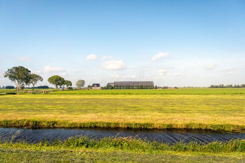 Newly mowed grassland in the foreground with a modern farm with stock image