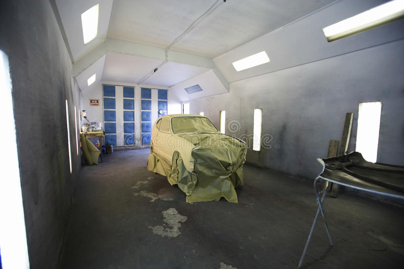 Newly Painted Car In Garage stock photos