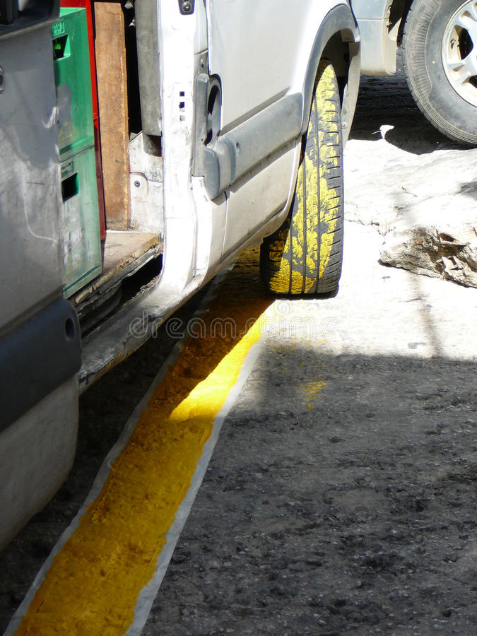 Newly painted Yellow Stripes stock photos