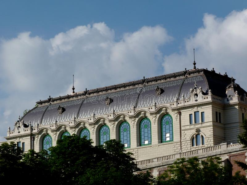 Newly renovated classical old building in the castle district in Budapest. Freshly renovated classical building of old classical architecture in the Buda castle stock image