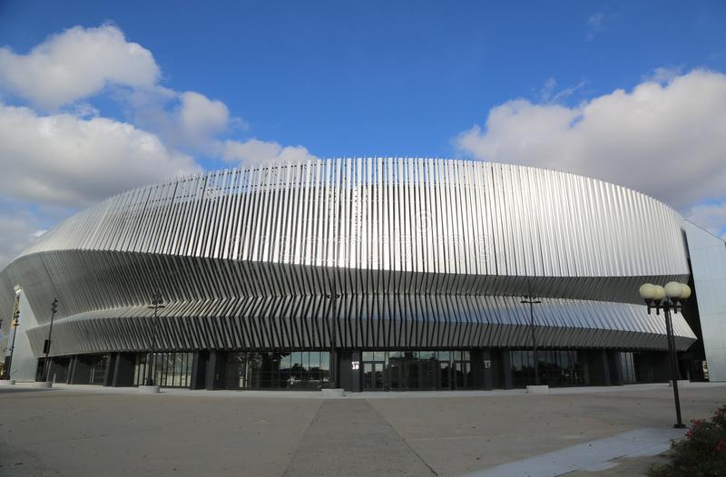 The newly renovated Nassau Veterans Memorial Coliseum in Uniondale, NY. stock images