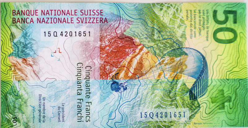 Newly 50 Swiss Franc bills. Very high resolution, 42.2 megapixels. The newly Fifty Swiss Franc money currencies. Photo taken on: June 05, 2016 royalty free stock photos