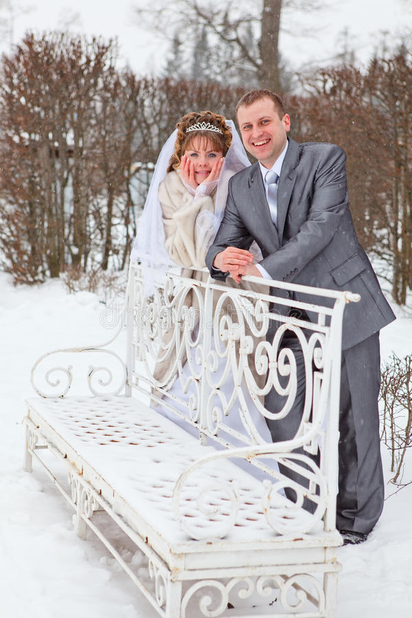 Download Newly Wed Couple In Winter Park Stock Photo - Image: 25619594