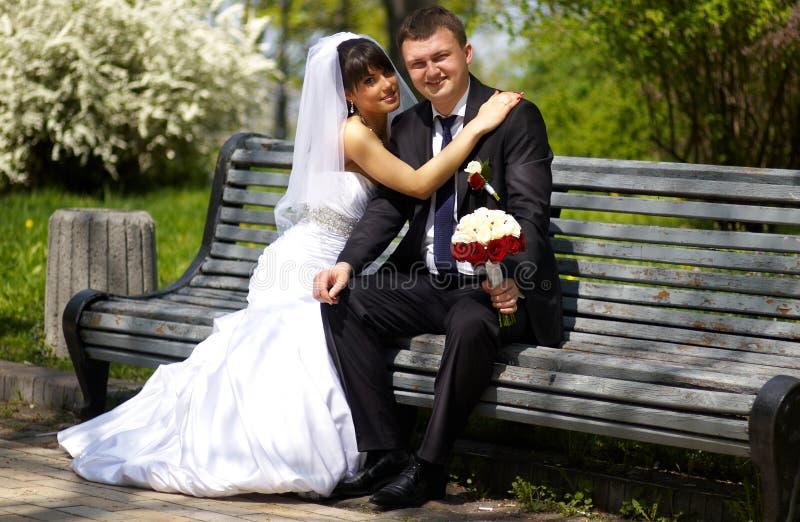 Newly wedded couple stock image