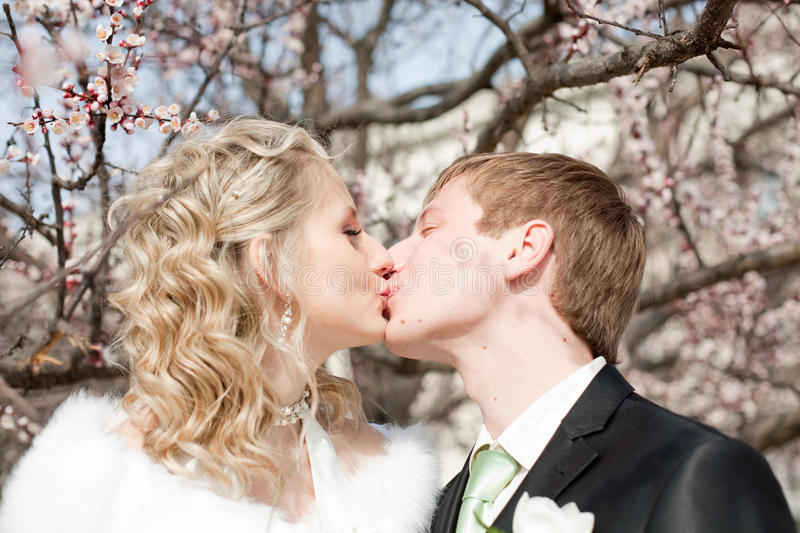 Newly wedded couple on open air stock image