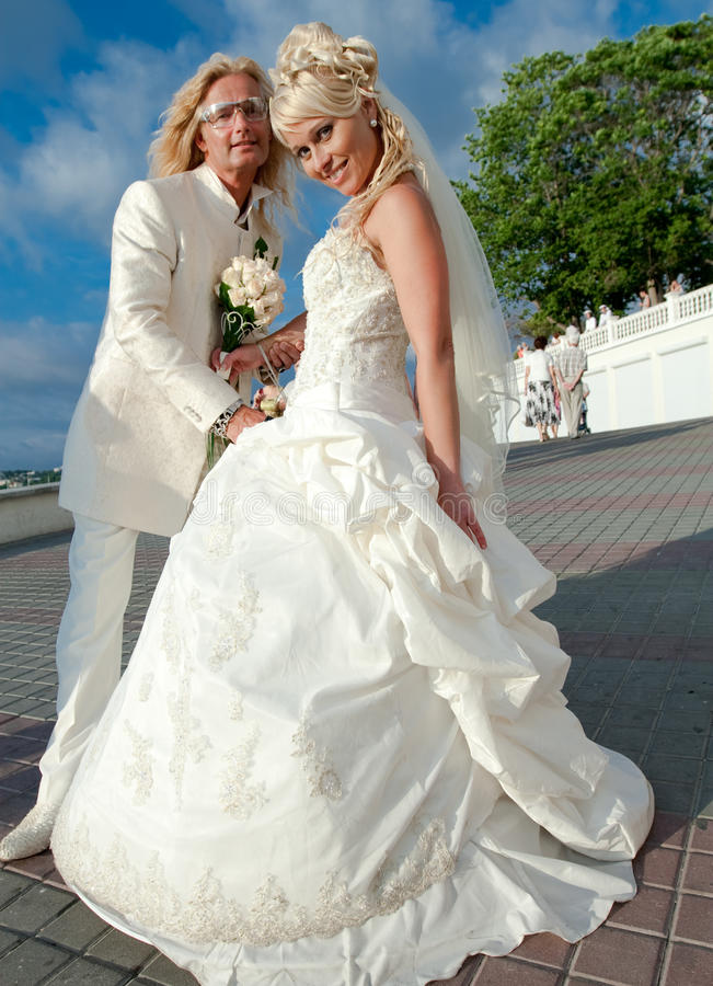 Download Newly Wedded Couple In The Park Stock Photo - Image: 18121944