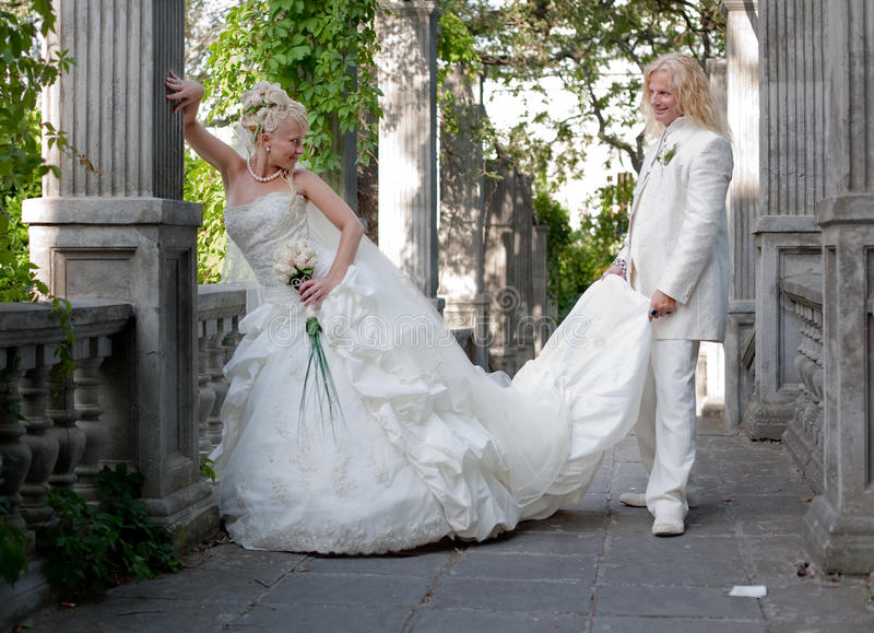 Download Newly Wedded Couple In The Park Stock Photo - Image: 18122000