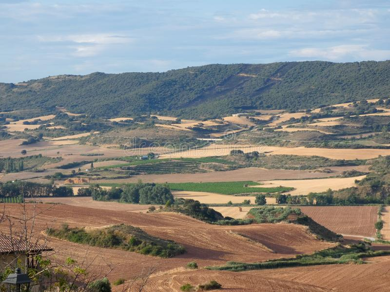 Fields of Spain in Summer, recently reaped and worked. Newly worked land, freshly harvested and prepared for the next harvest royalty free stock photography