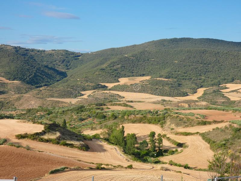 Fields of Spain in Summer, recently reaped and worked. Newly worked land, freshly harvested and prepared for the next harvest royalty free stock photo
