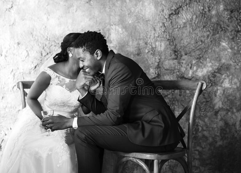 Newlywed African Descent Couple Wedding Celebration royalty free stock images
