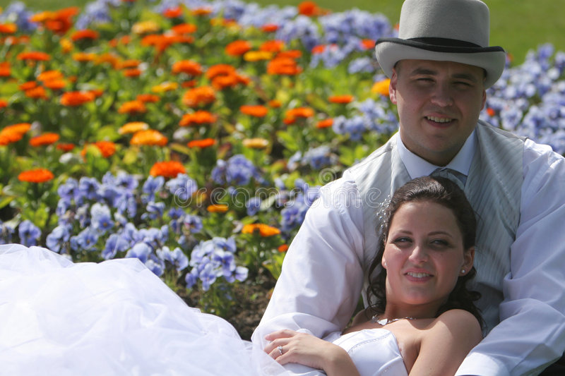 Newlywed bride and groom stock photo