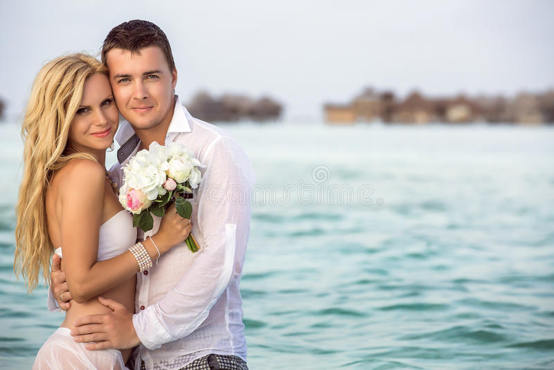 Newlywed couple stock photo