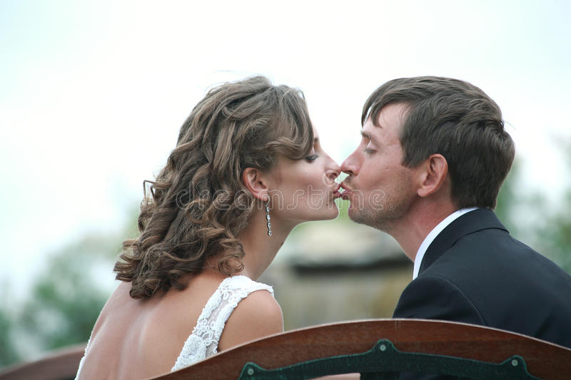 Newlywed couple in love stock photography