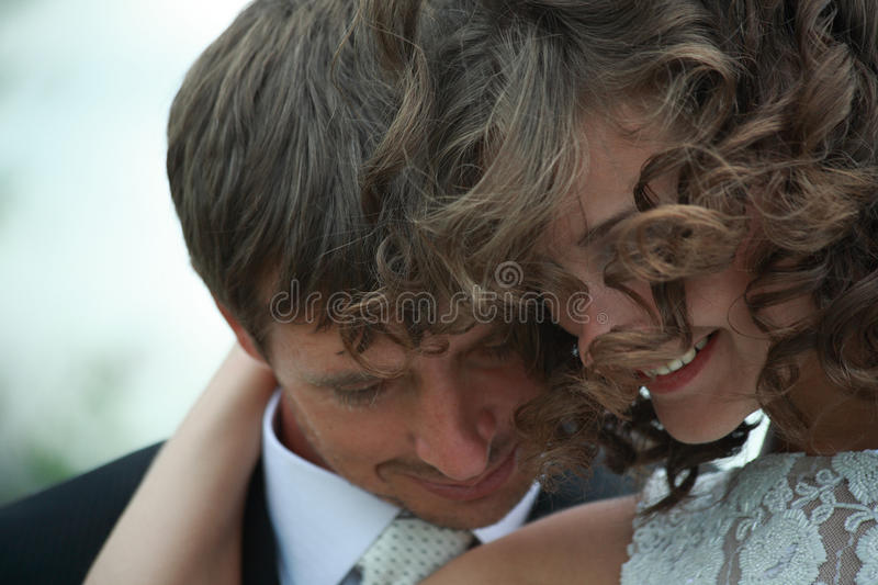 Newlywed couple in love royalty free stock photos