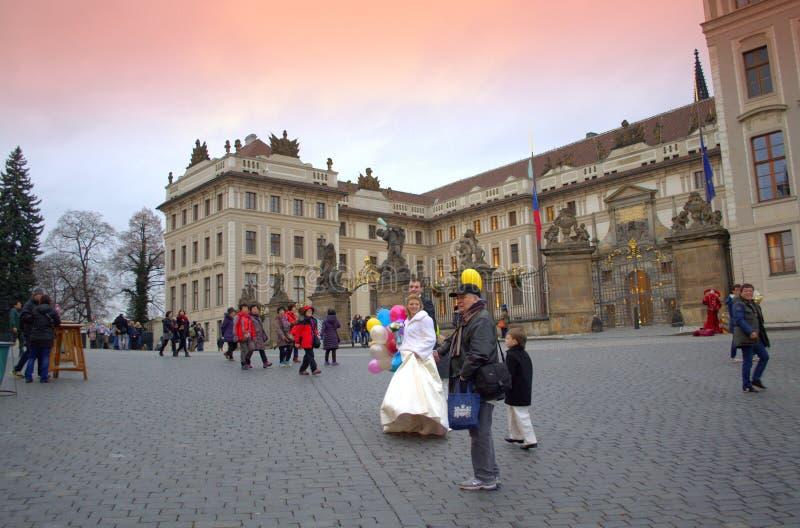 Newlywed couple Prague Castle square stock photography