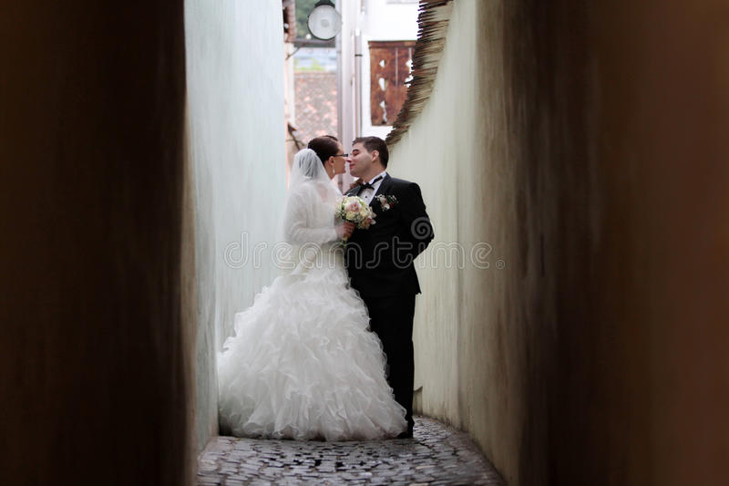 Newlywed couple about to kiss stock photo
