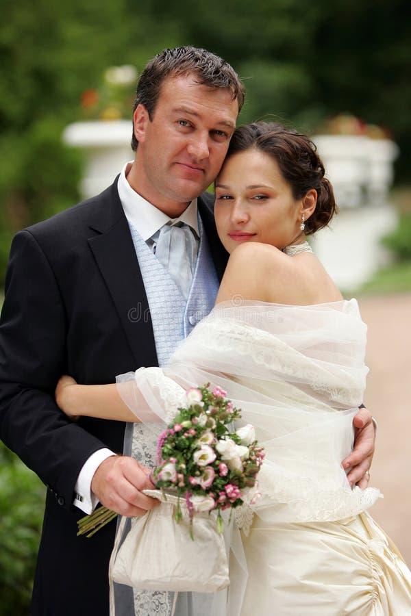 Newlywed Couple On Wedding Day Royalty Free Stock Photos