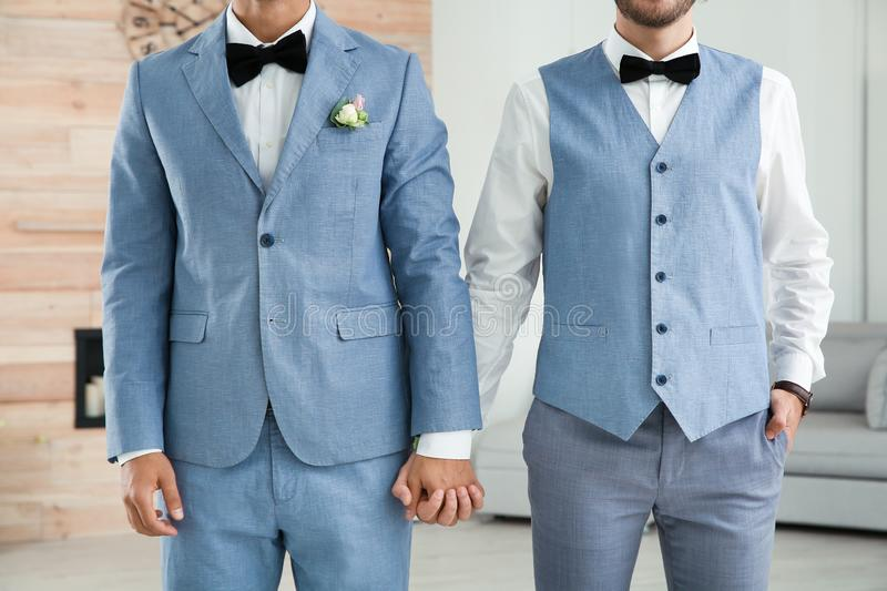 Newlywed gay couple holding hands royalty free stock photography