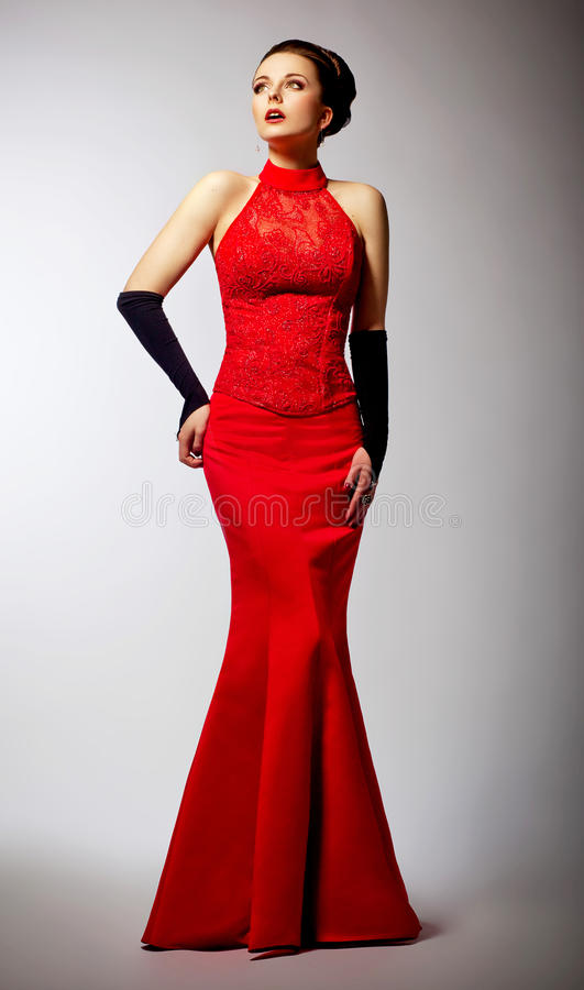 Download Newlywed In Long Wedding Red Dress Posing Stock Image - Image of emotions, adult: 27418811