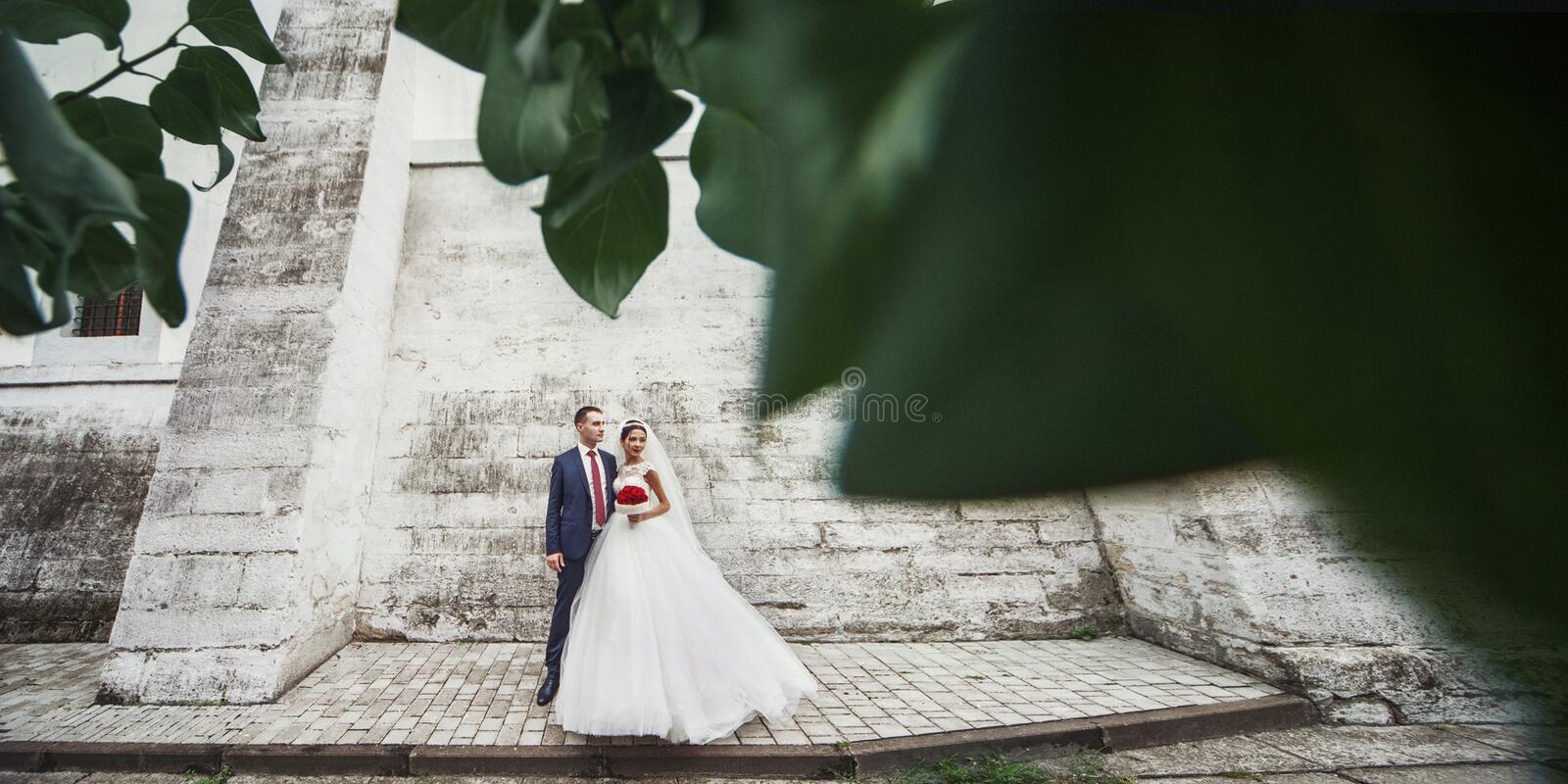 Newlywed romantic couple posing together near old castle wall in stock image