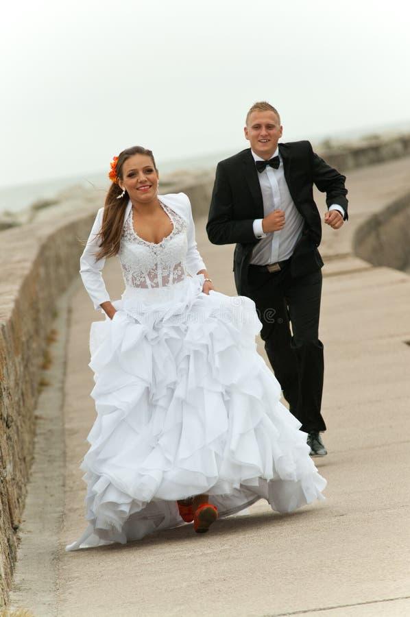 Newlywed young couple stock photo