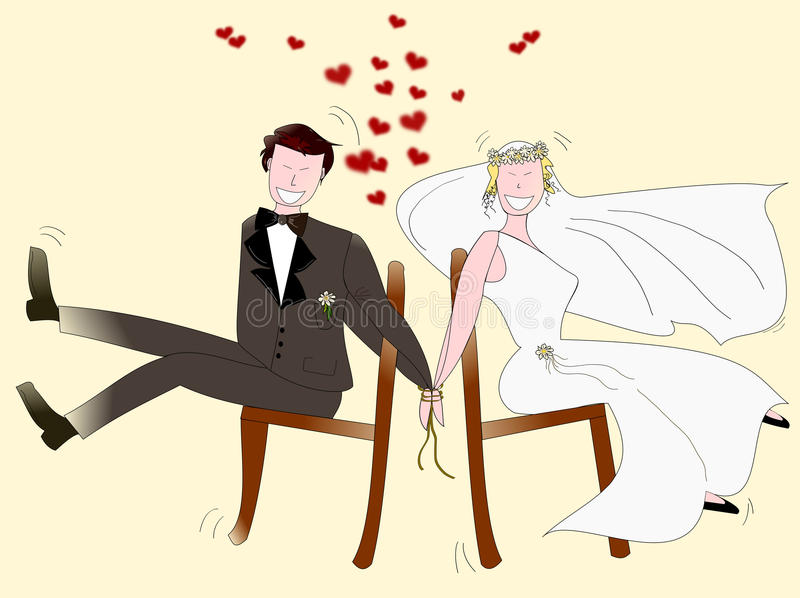 Newlyweds. This illustration is intended ironically to any business that revolves around the wedding, so it has a wide field d 'use. Repropose this picture in my royalty free illustration