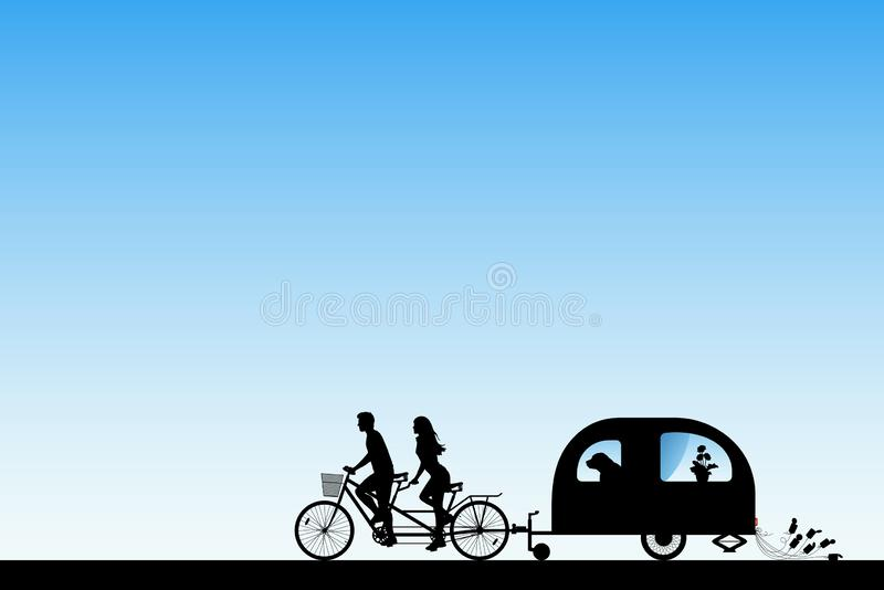 Newlyweds on bike tandem on road royalty free illustration