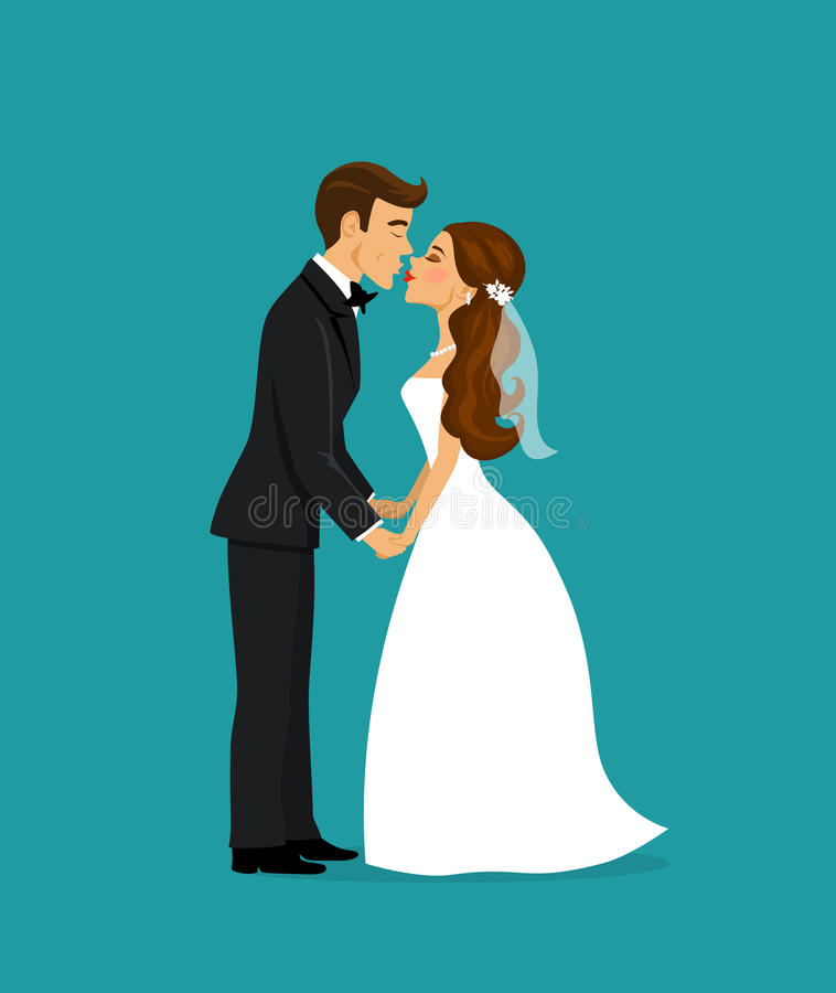 Newlyweds bride and groom kissing cartoon royalty free illustration