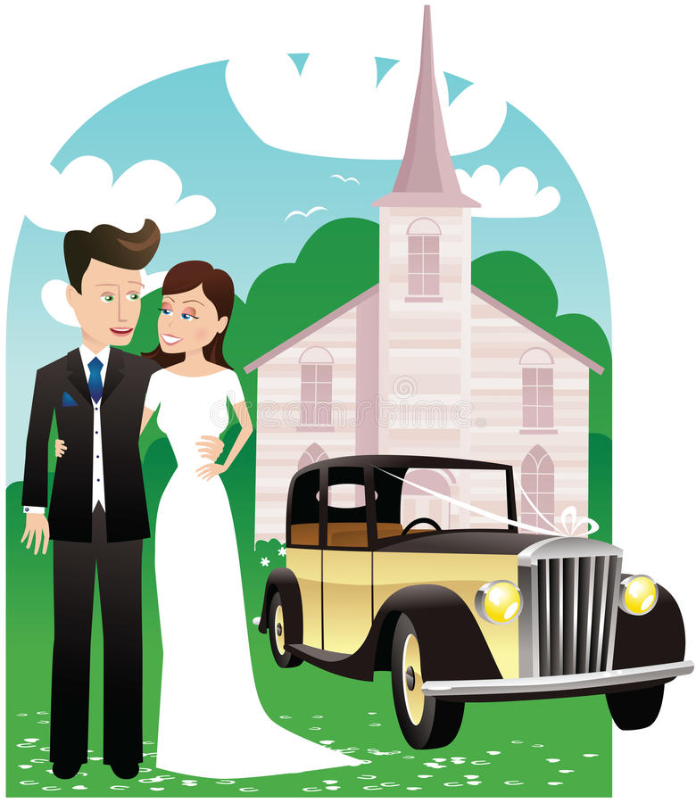 Newlyweds car and church royalty free stock images