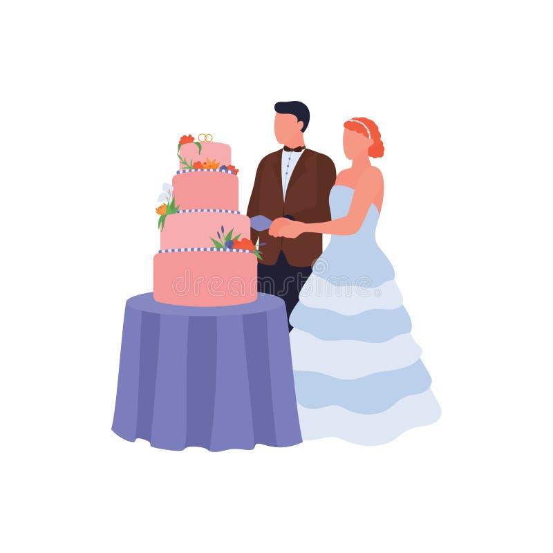 Free Newlyweds Cut Wedding Cake At Bride Ceremony. Groom And Bride Holding Knife. Love Couple Isolated On White Background. Stock Photography - 183270672