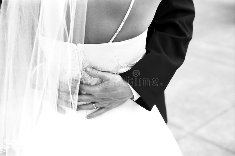 Newlyweds dancing stock images