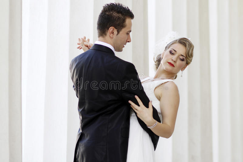 Newlyweds dancing royalty free stock image