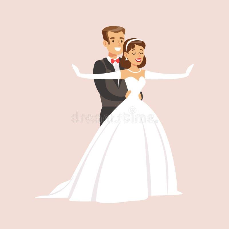 Newlyweds Doing Titaic Pose At The Wedding Party Scene stock illustration
