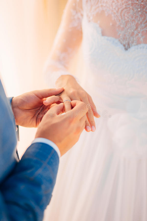 The newlyweds exchange rings at a wedding. In Montenegro royalty free stock photo